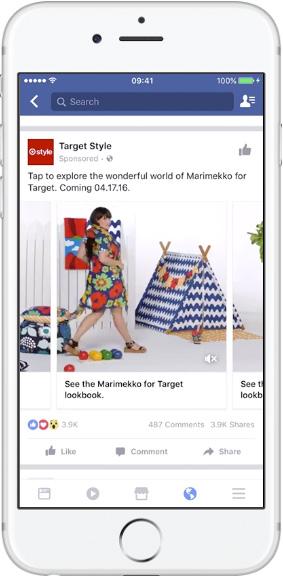 Facebook лента— кольцевая галерея— изображение